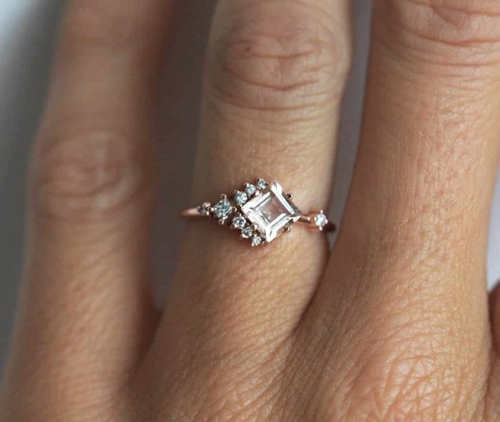 morganite cluster engagement ring
