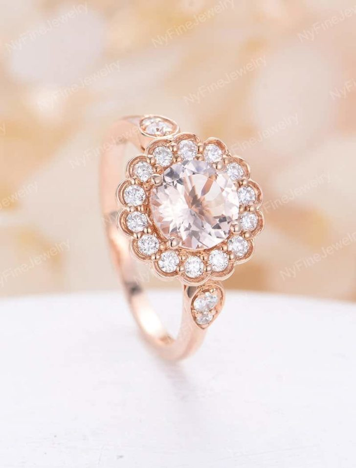 morganite engagement ring flower