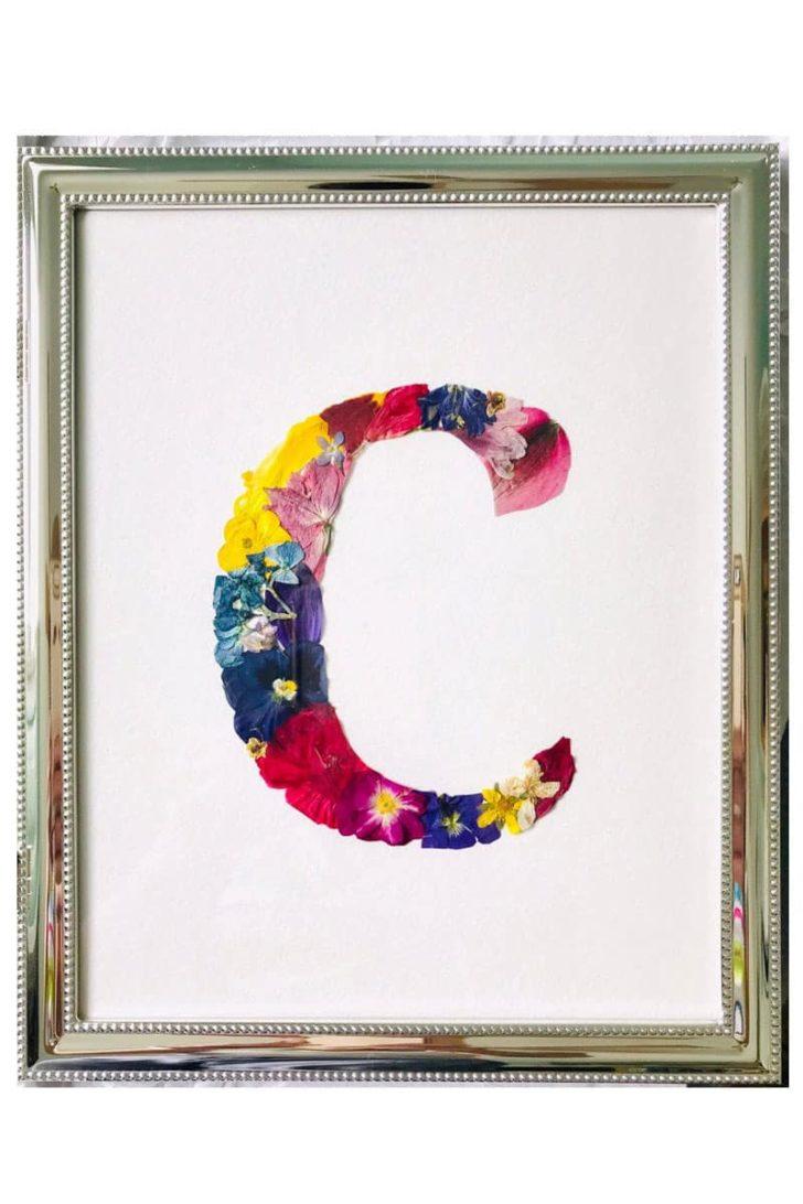 KmeaningfulMonograms on Etsy - Custom Pressed Flower Monogram Artwork