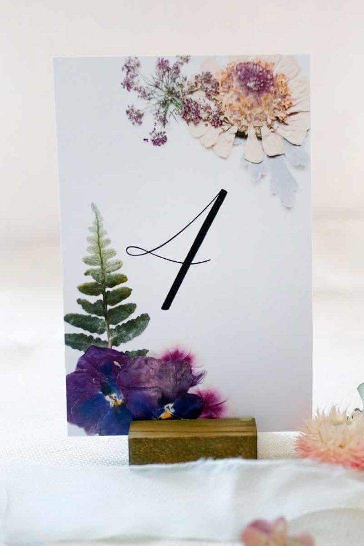 SeekandBloomCreative on Etsy - Digital Pressed Flower Illustrated Wedding Table Numbers