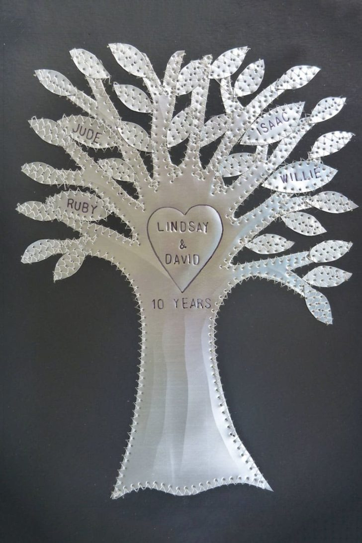 affordable tenth anniversary gift idea - stitched tin tree artwork