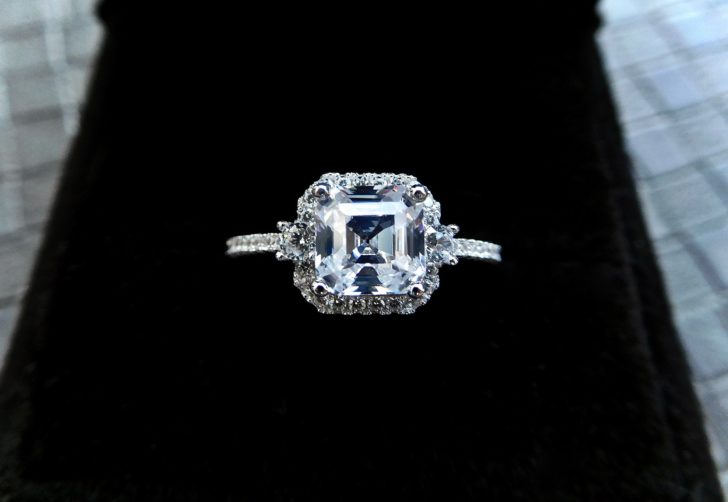 vintage style asscher cut diamond engagement ring