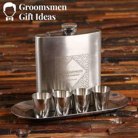 Groomsmen Flask and Shot Glass Combo