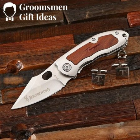 Groomsmen Knife and Cuff Link Set