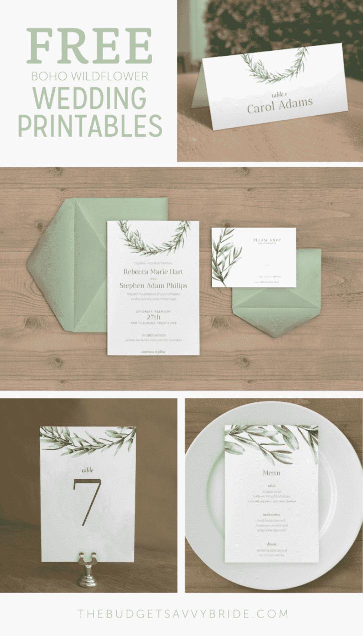 Greenery Wedding Invitations and Flowers