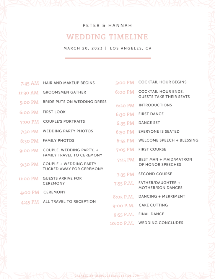 free printable wedding day timeline template