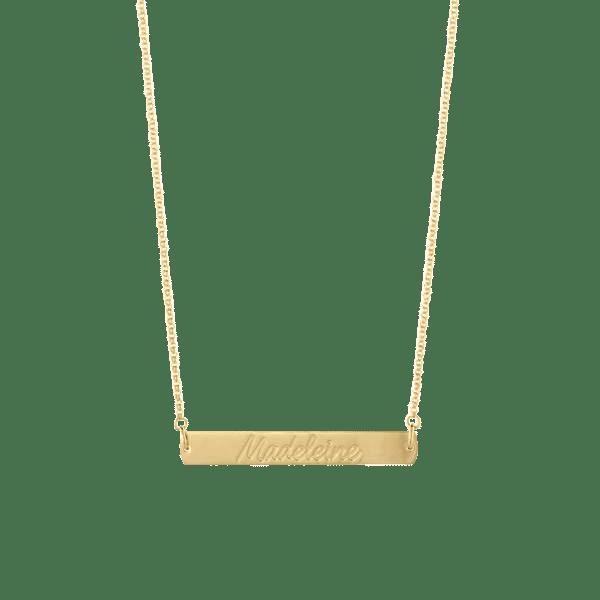 custom handwriting engraved horizontal bar necklace