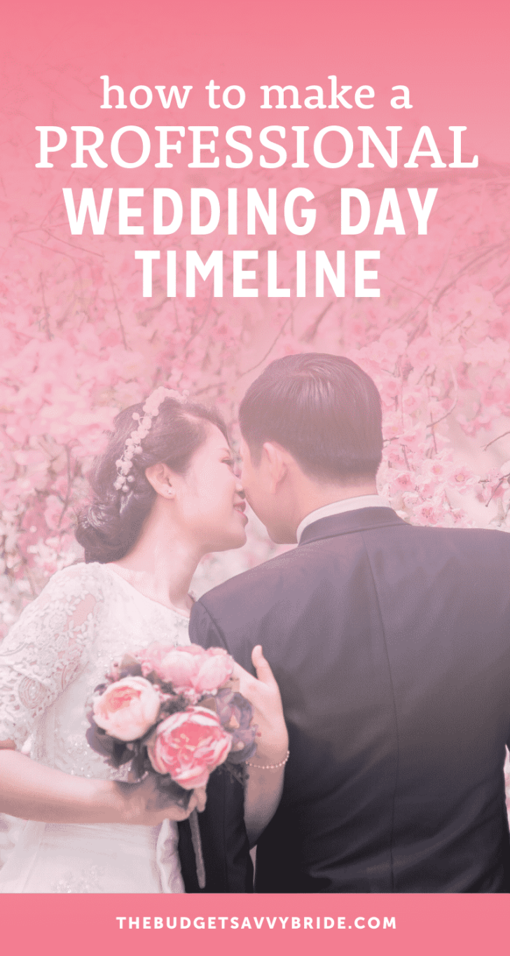 make a professional wedding day timeline