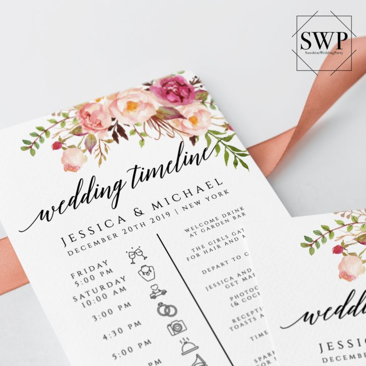 wedding timeline printable etsy