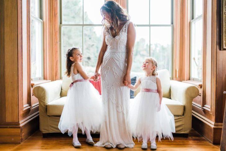 Bride and flower girls   California Elopement