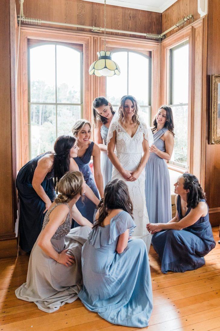 California Microwedding - Mismatched bridesmaids dresses