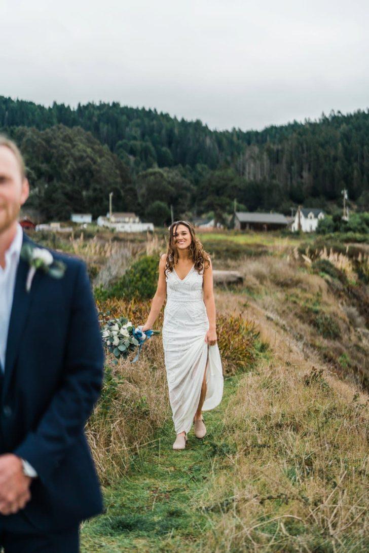 Bride in a field