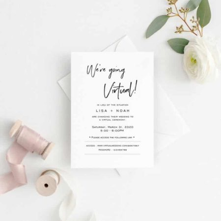 We're Going Virtual Wedding Invitation Template