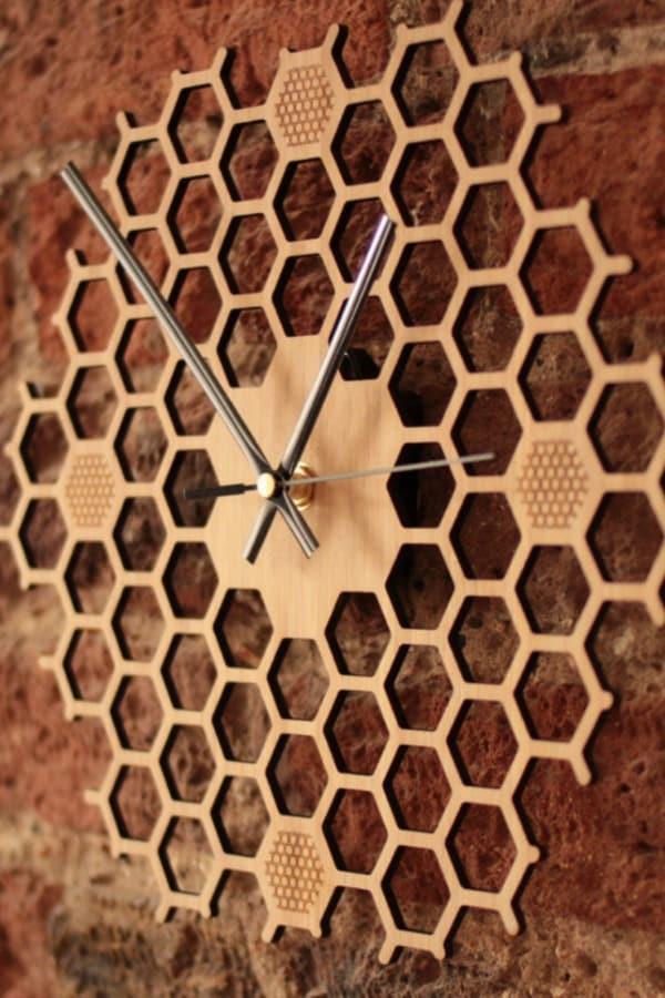 Honeycomb Wooden Wall Clock