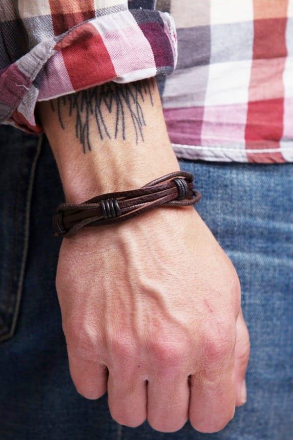 Mens Braided Leather Bracelet By BeGenuine