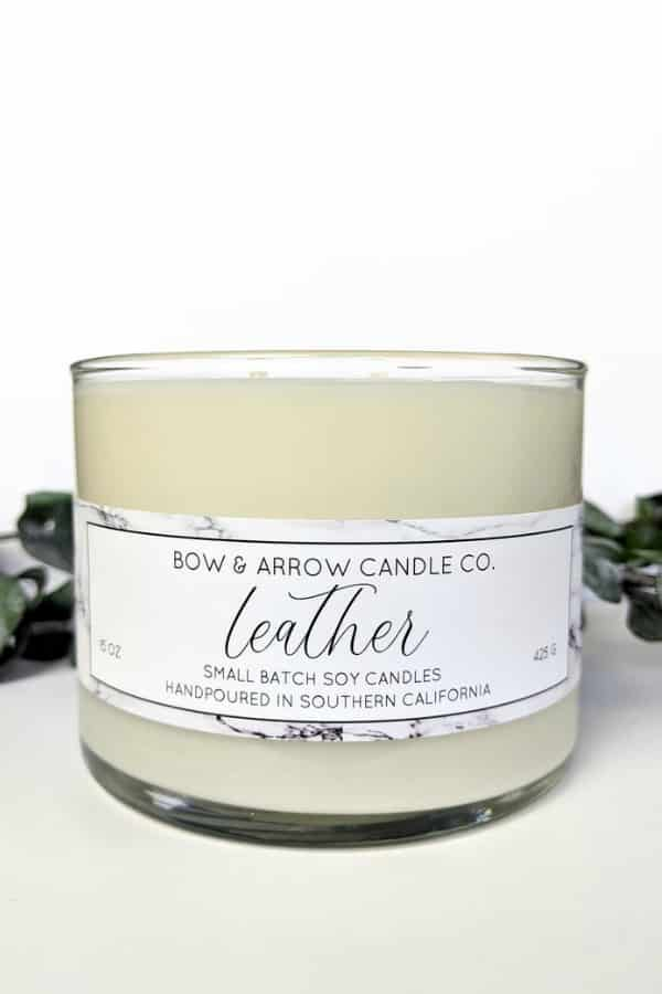 Natural Soy Candle Leather Scented By BowAndArrowCandleCo