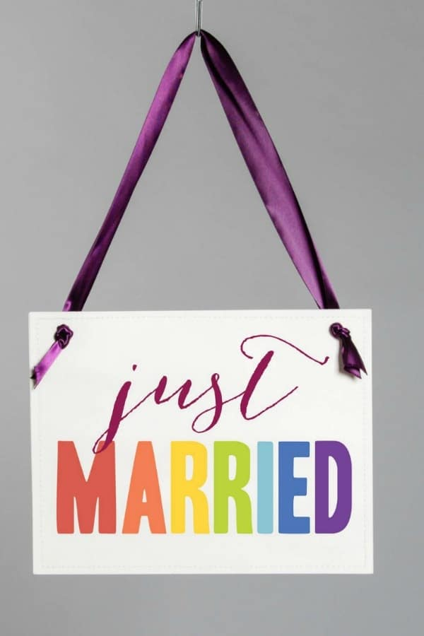 Just Married Rainbow Wedding Sign  LGBTQ+ Wedding Accessories | Etsy Finds | Pride 2020