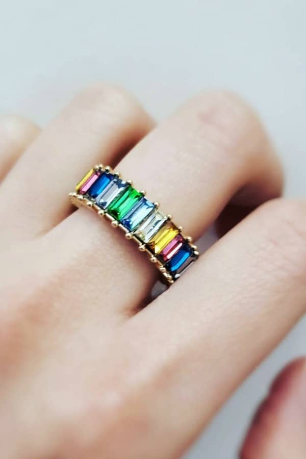 LGBTQ+ Etsy Finds | Pride 2020 Rainbow Baguette Ring