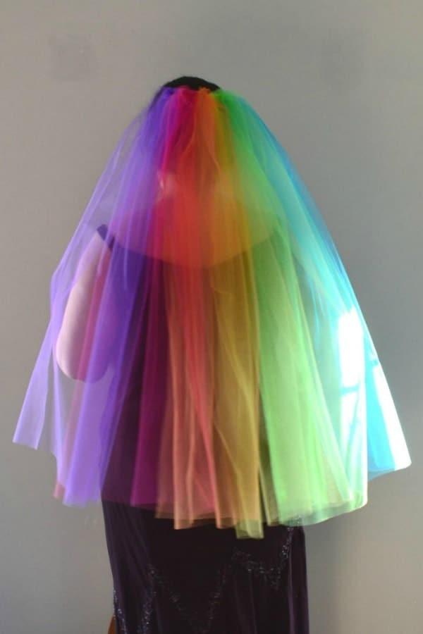 Rainbow Fingertip Veil  LGBTQ+ Wedding Accessories   Etsy Finds   Pride 2020