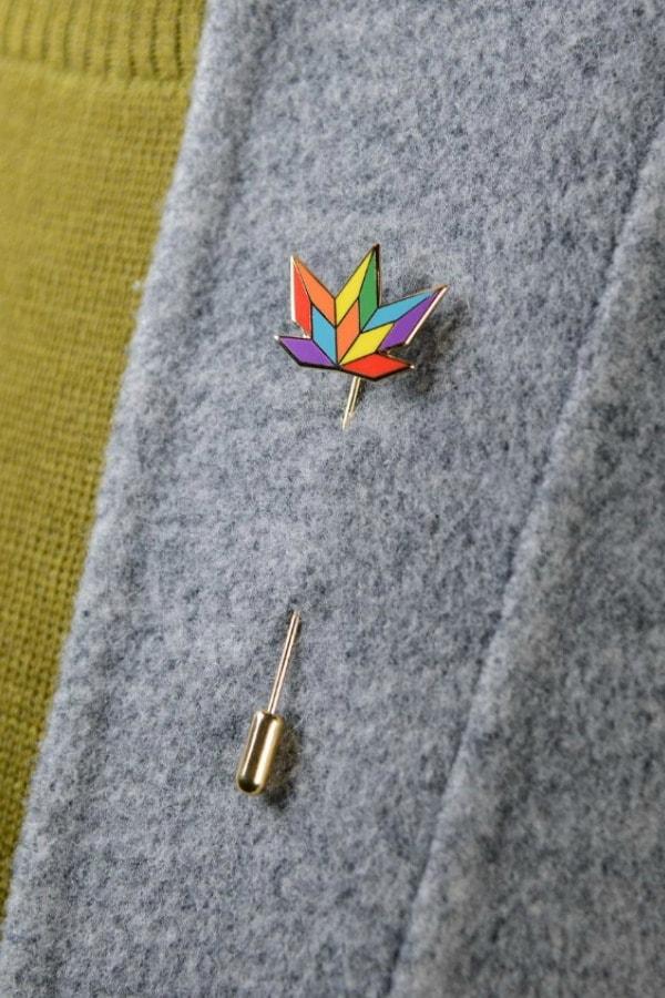 Rainbow Leaf Stick Pin  LGBTQ+ Wedding Accessories   Etsy Finds   Pride 2020
