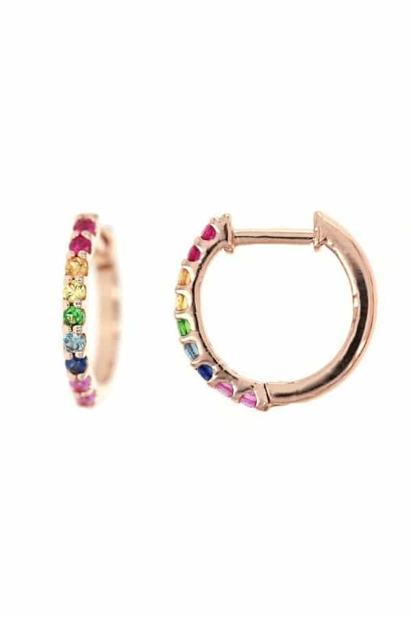 Rainbow Sapphire Huggie Earring  LGBTQ+ Etsy Finds | Pride 2020