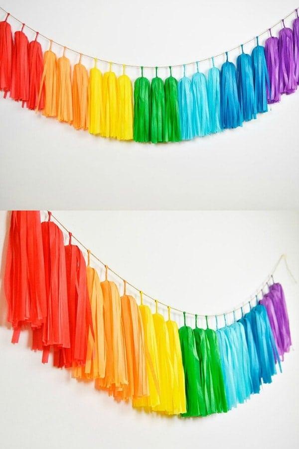 Rainbow Tassel Garland  LGBTQ+ Wedding Accessories   Etsy Finds   Pride 2020