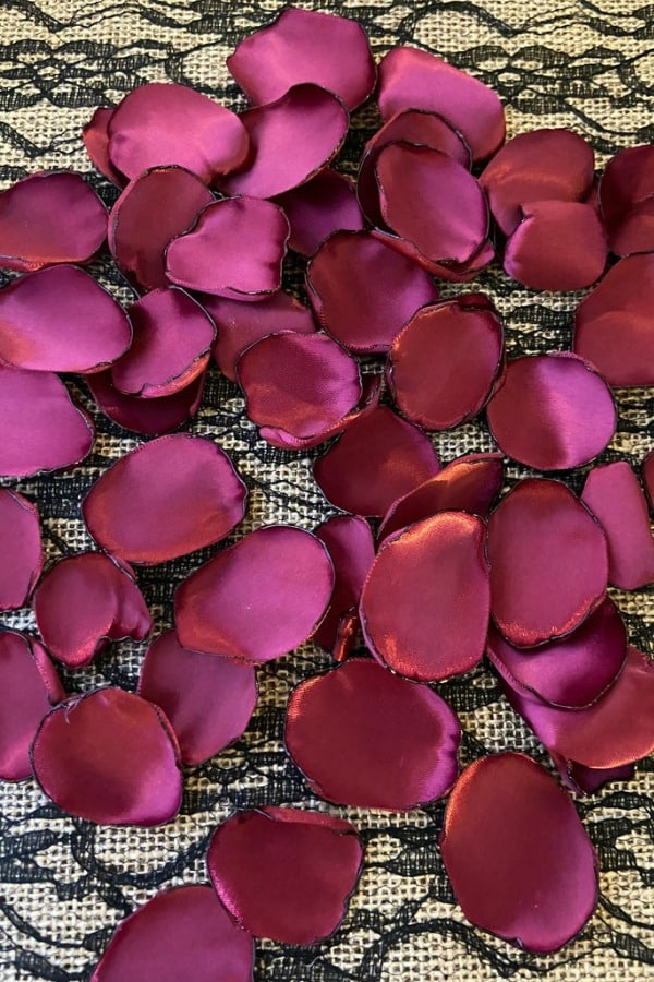 Wine Satin Rose Petals