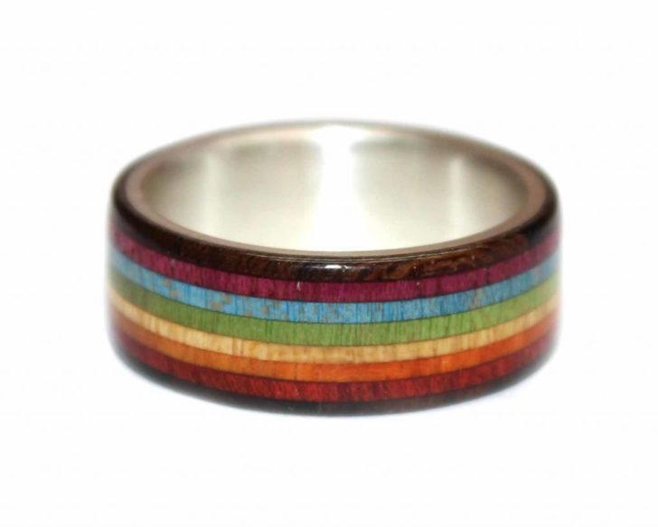 Rainbow wood wedding ring from WoodenRings.com