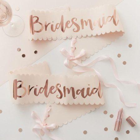 Blush Scallop Bridesmaid Sash Set
