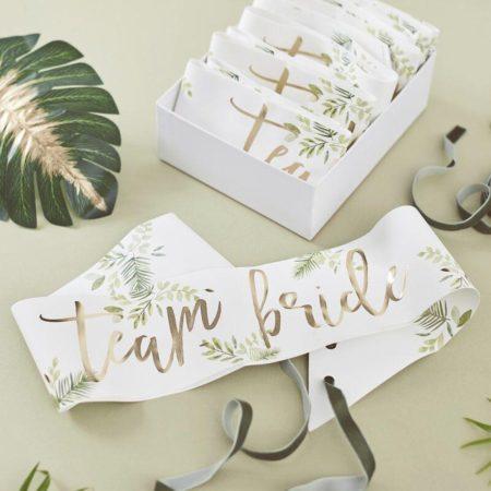 Gold Botanical Sash Team Bride Set