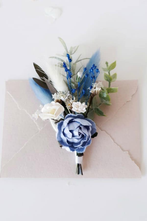 Blue Floral Boutonniere By LutikFlower