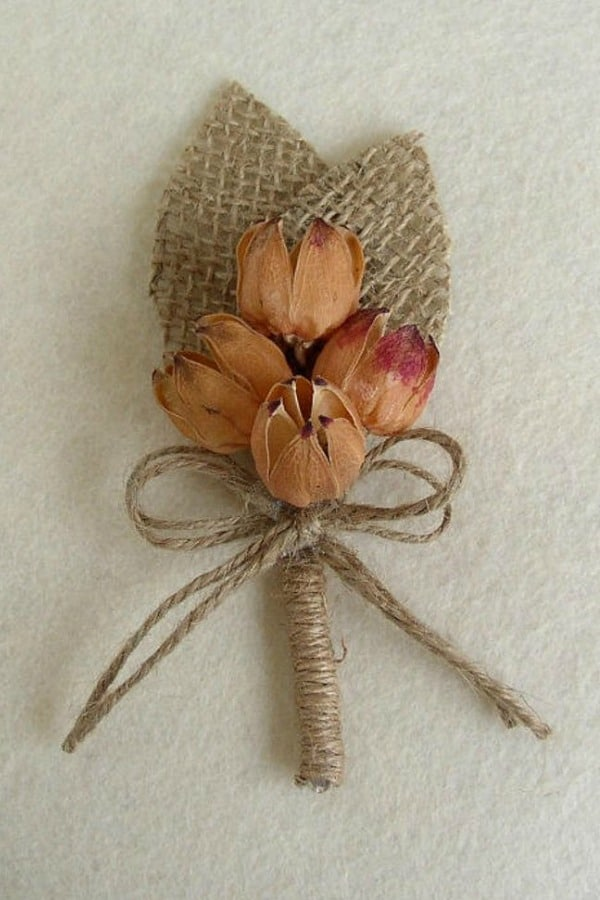 Burlap and Dried Flowers Boutonniere By FloroMondo