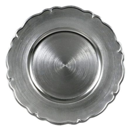 Metallic Silver Scroll Charger Plates