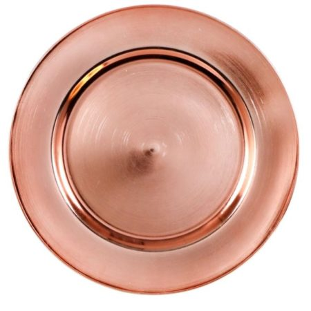 Metallic Rose Gold Plastic Charger Plates