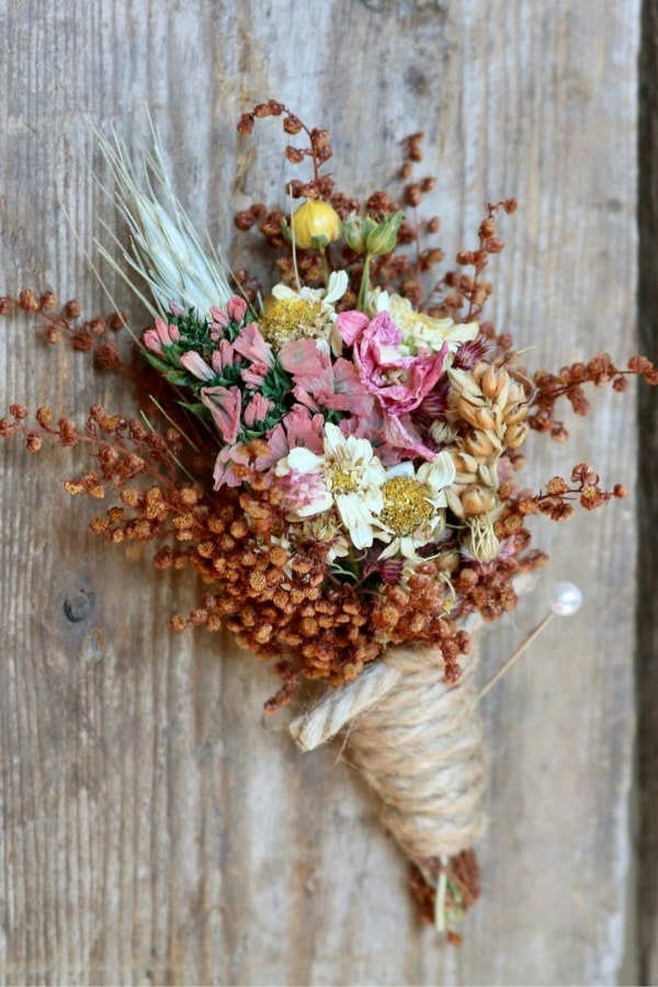 Fall Dried Flower Boutonniere By theflowerpatch