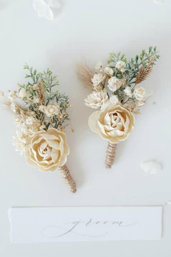 Ivory Flower Boutonniere By LutikFlower