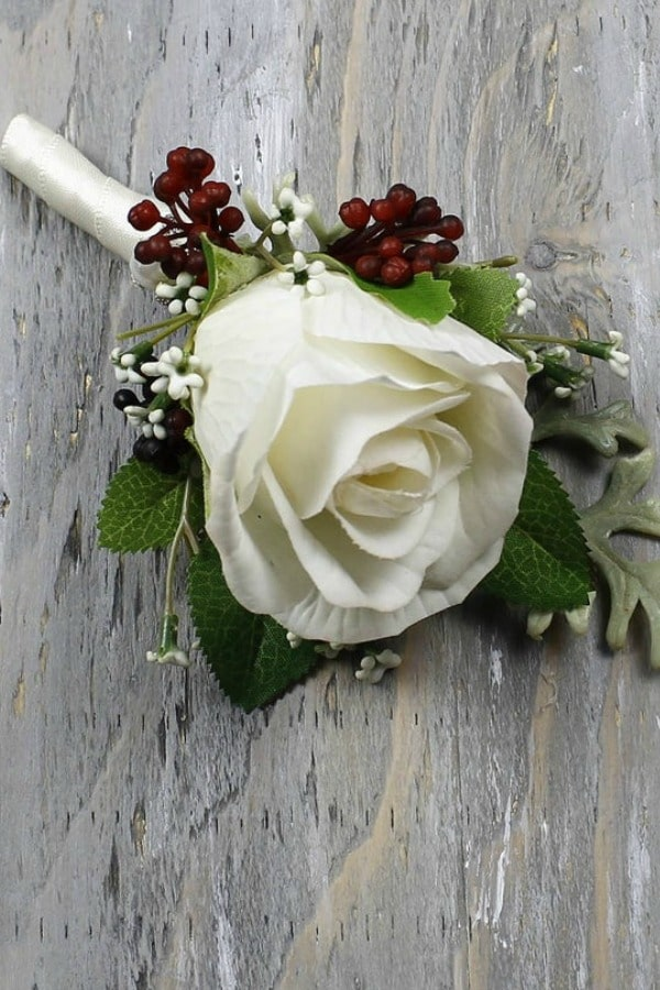 Ivory Rose Wedding Boutonniere By MGFloralDesign
