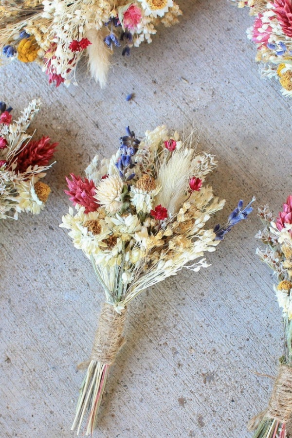 Pink And Lavender Rustic Dried Flowers Boutonniere By Bridalwishdesign