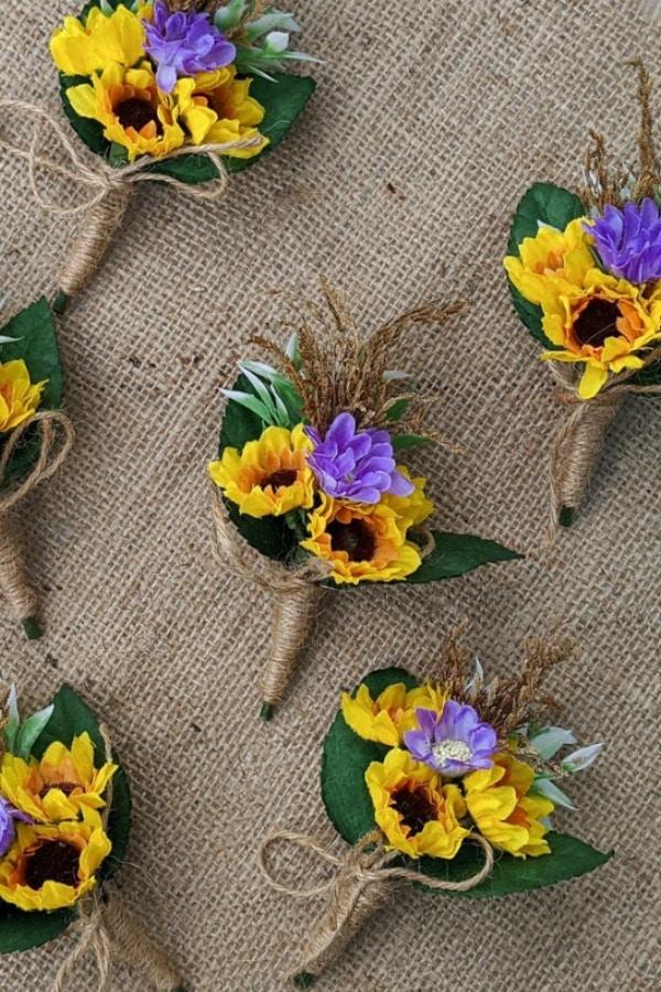 Sunflower Boutonniere By GloiberryBowtie