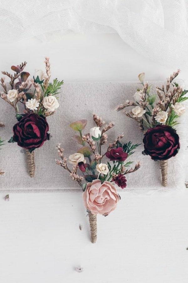 Winter Burgundy Blush Wedding Boutonniere By SERENlTY