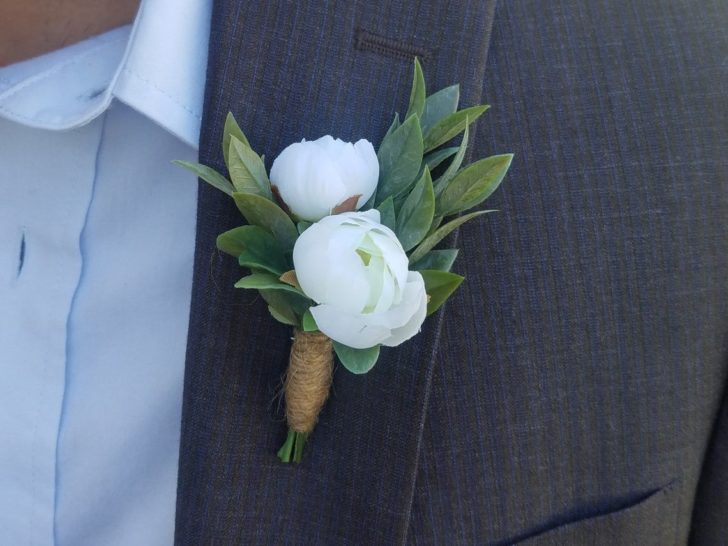 Faux flower wedding boutonniere from MontgomeryBlues on Etsy