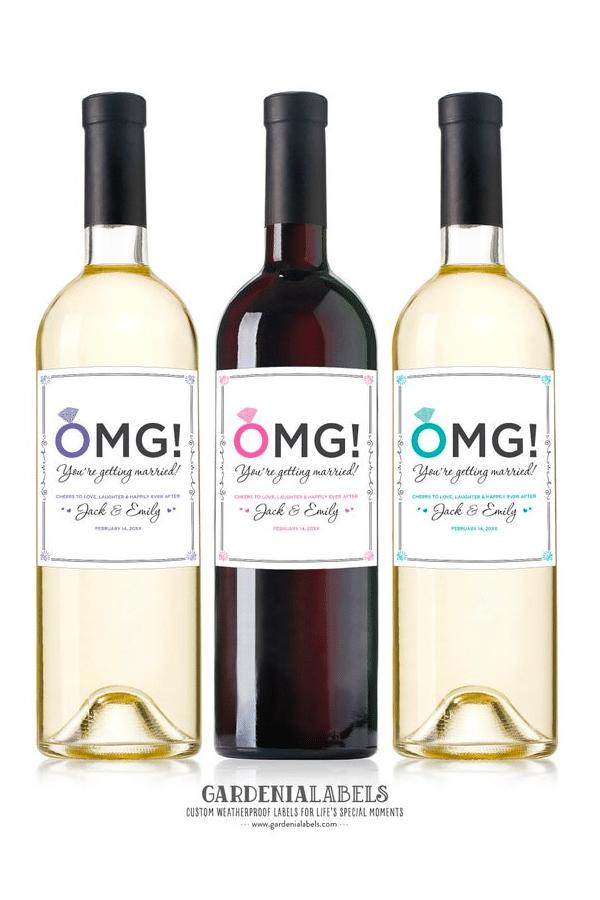 engagement gift ideas: engagement wine labels