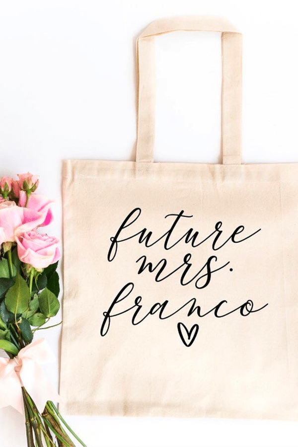 engagement gift ideas: future mrs tote