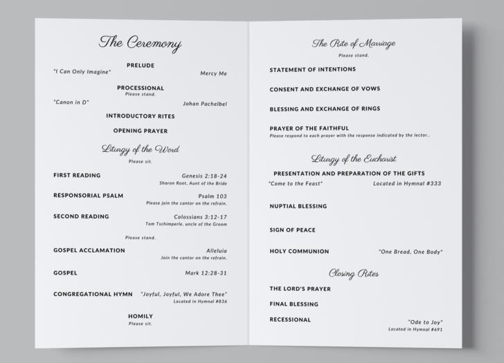 Free Catholic Wedding Program Template - inside pages