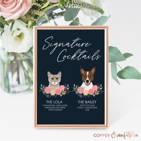 Custom 2 Pet Illustration Signature Drink Sign Printable - Copper and Confetti Co.