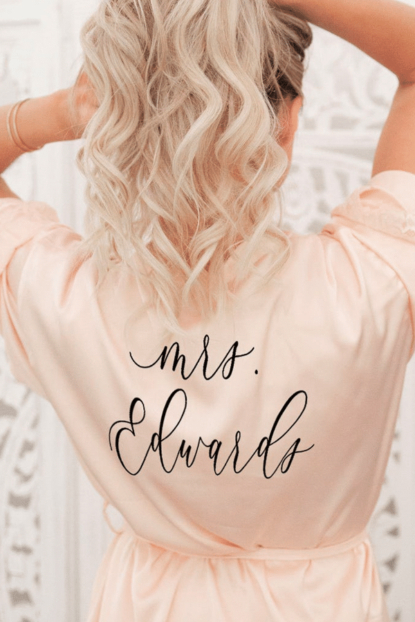 engagement gift ideas: personalized robe