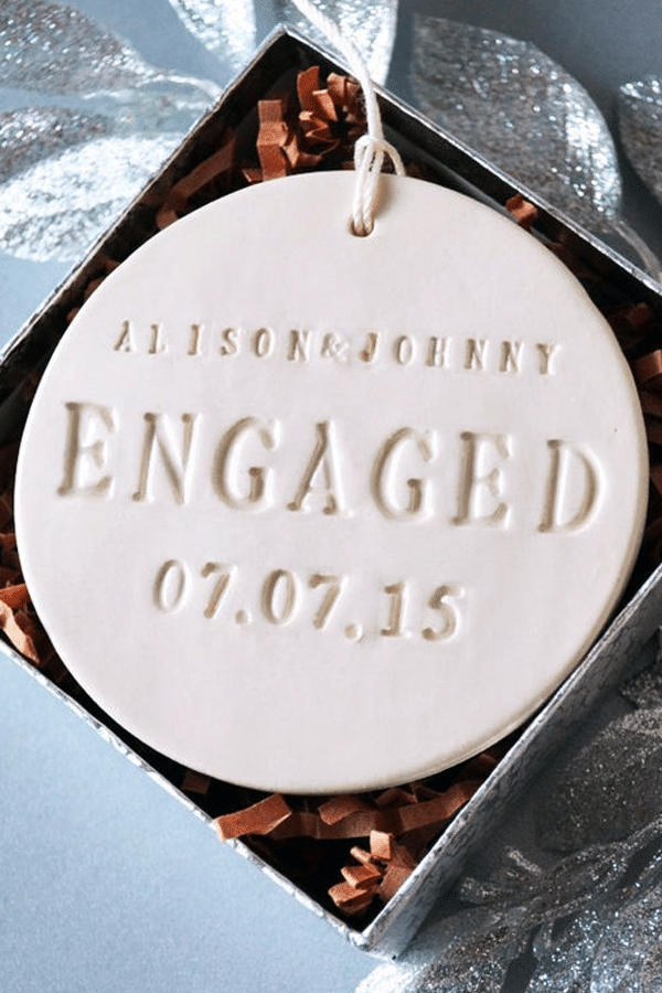 engagement gift ideas: custom stamped engagement ornament
