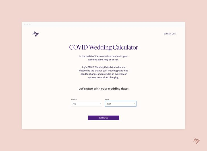COVID Wedding Calculator - Home Page - Branded