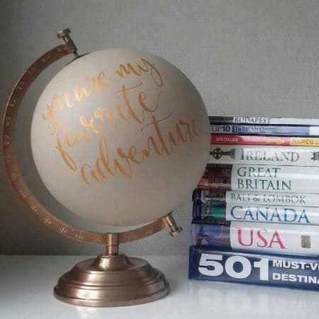 Hand-Painted Globe Wedding Guestbook Alternative