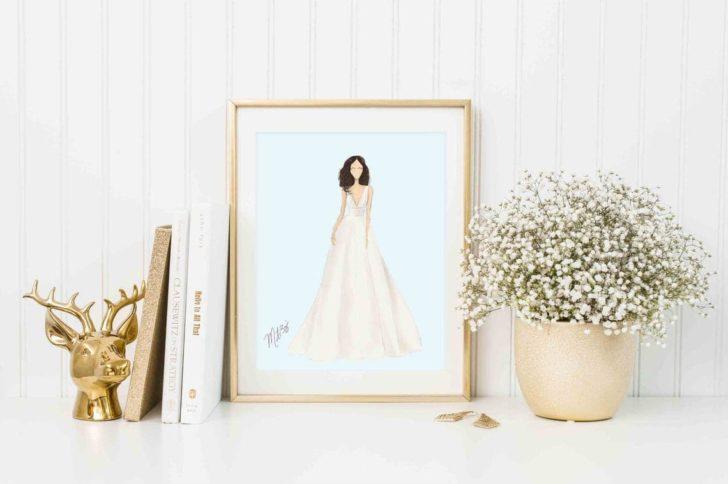 Bridal Gown Sketch - Custom Illustration